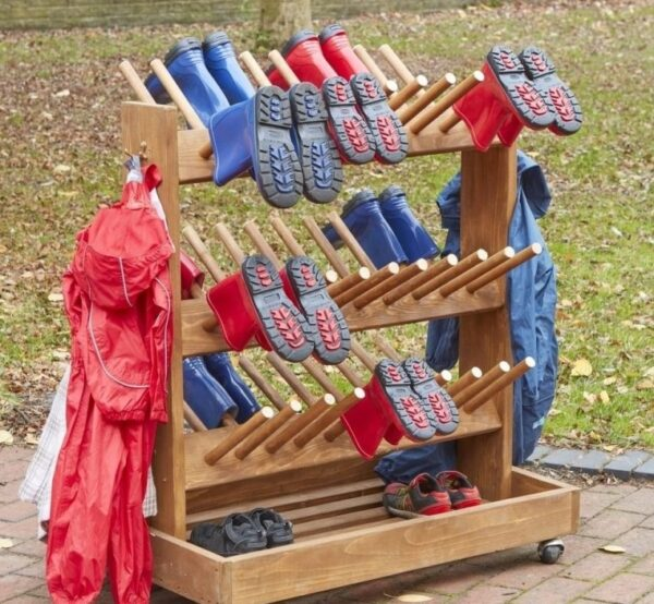 Wooden Mobile Welly Trolley