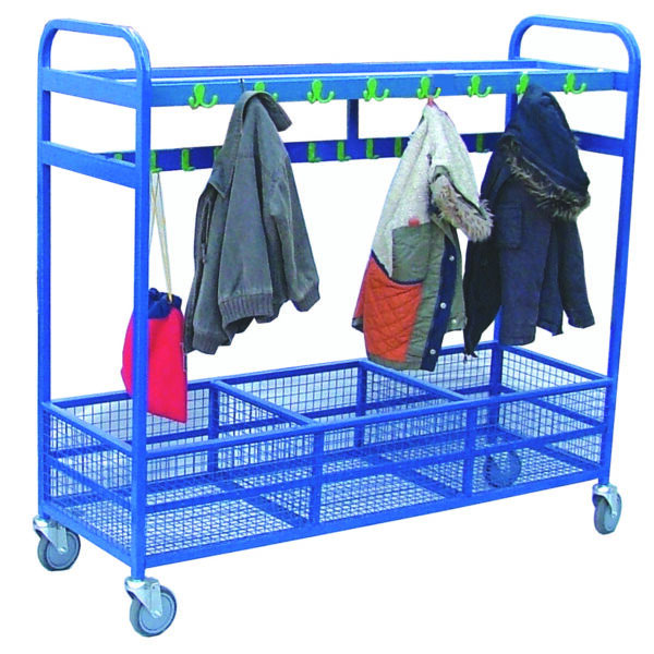 mobile Cloakroom Trolley with Mesh Storage - 64 Hooks for nurseries and classrooms