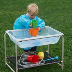 Clear Sand and Water Tray with stand - easy to move nursery sand and water play