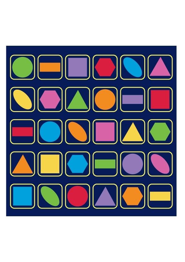 Grid Shapes Placement Carpet - 3x3m - 30 Places