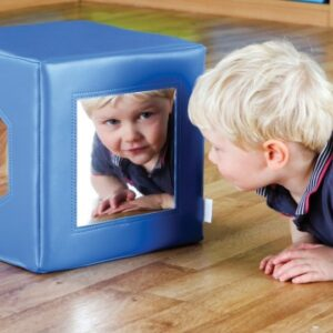Children's Mirror Cube to aid self awareness in toddlers.
